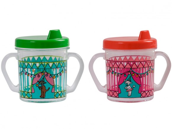 Baby plastic trainer cup with circus print by RICE