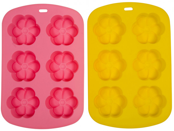 Silicone flower baking mould in assorted colours by RICE