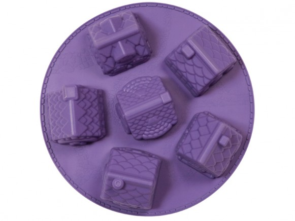 3D winter village silicone baking mold in purple by RICE Denmark