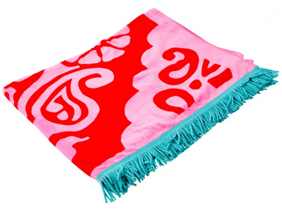 X-large RICE bath towel ornaments red