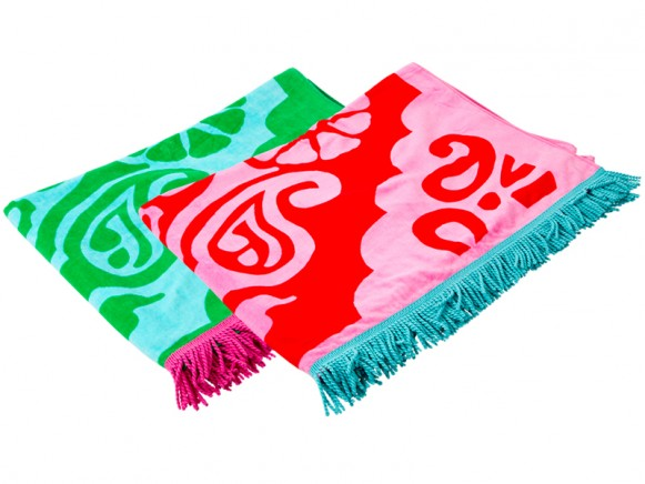 X-large RICE bath towel with ornaments