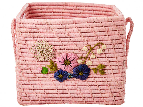 RICE Square Raffia Basket FLOWERS blush