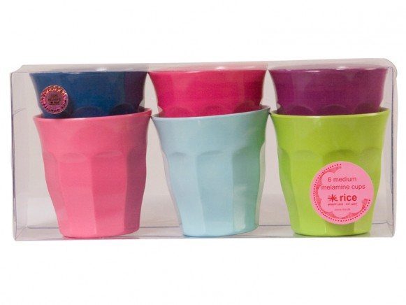 Medium melamine cups in fun-funky-fabulous colours by RICE Denmark
