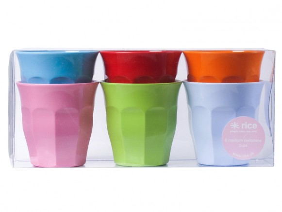 Medium melamine curved cups in bright colours by RICE Denmark