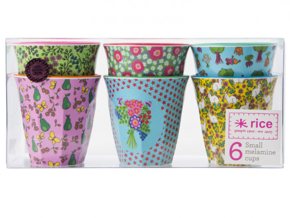 """Small cups with assorted """"RICE to the stars"""" prints by RICE"""