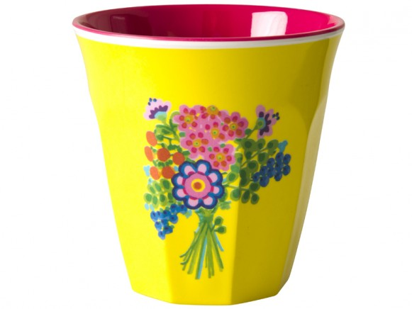 Cup with flower bouquet print by RICE