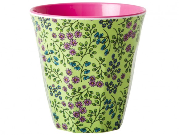 RICE melamine cup with flower print and pink inner