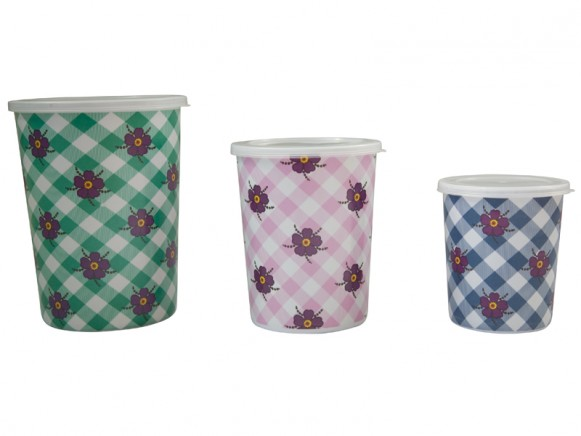 Set of 3 melamine food storage boxes with funky flower print by RICE