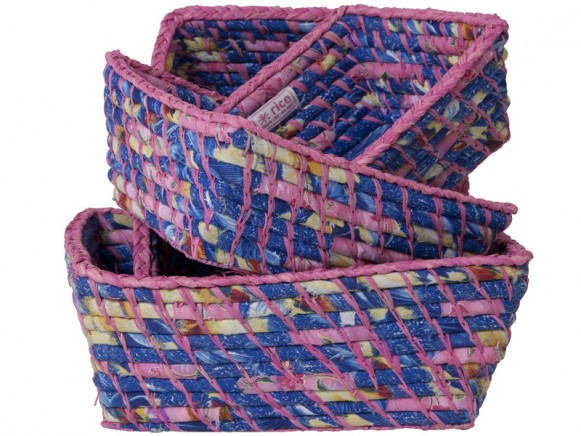Bread baskets in pink/blue fabrics by RICE