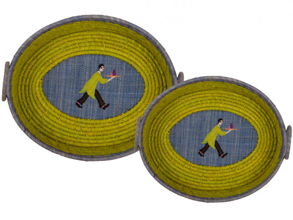 Oval green raffia basket with waiter application by RICE