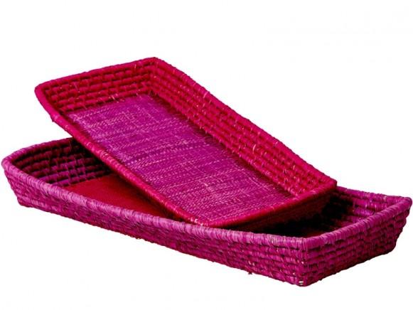 RICE 2 Rectangular Breadbaskets pink/magenta