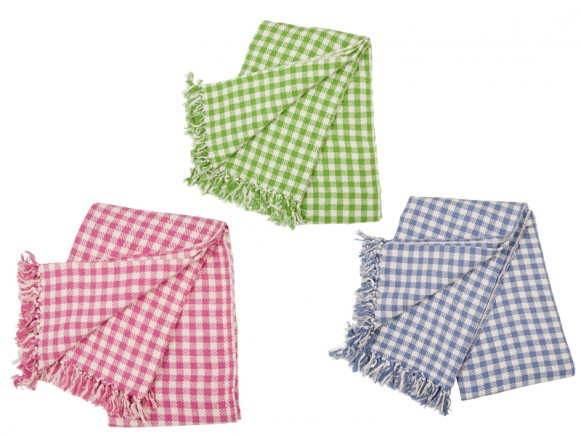 Woven gingham cotton throw by RICE Denmark