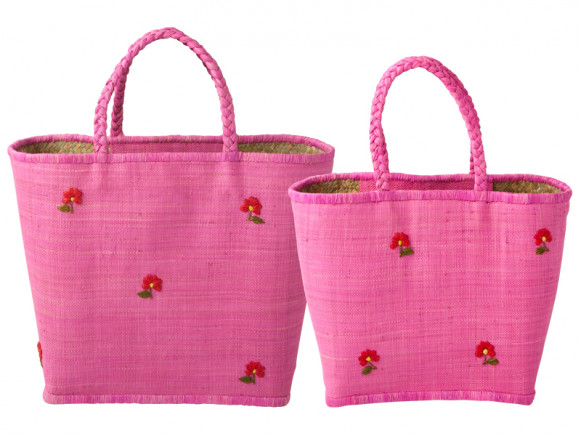 Pink shopping bag with daisies by RICE Denmark