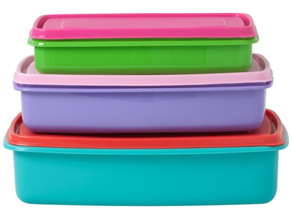 Rectangular food boxes in turquoise/purple/green by RICE