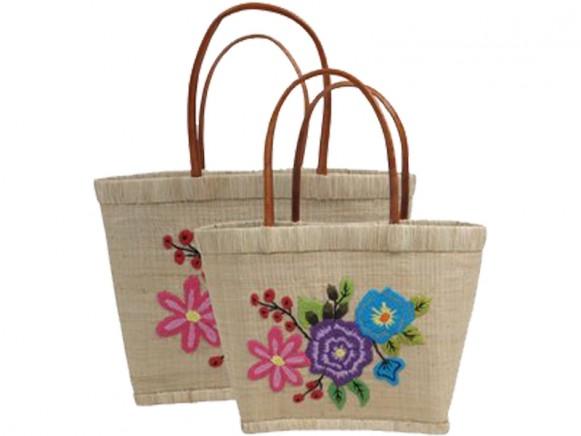 RICE Raffia Shopping Bag FLOWERS