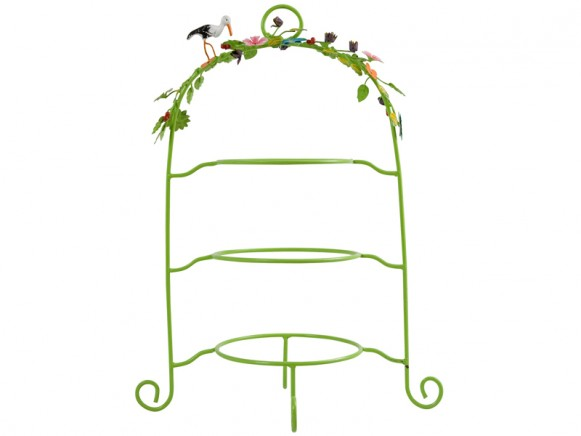 Hand painted metal etagere in green by RICE