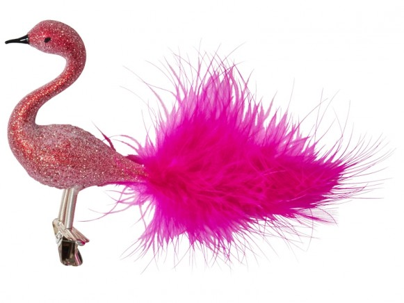 RICE Mouth-blown Glass Flamingo Ornament Glitter
