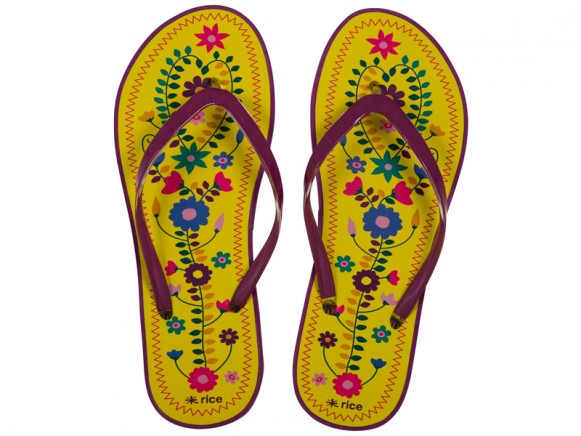 Flip Flop with yellow flower print by RICE