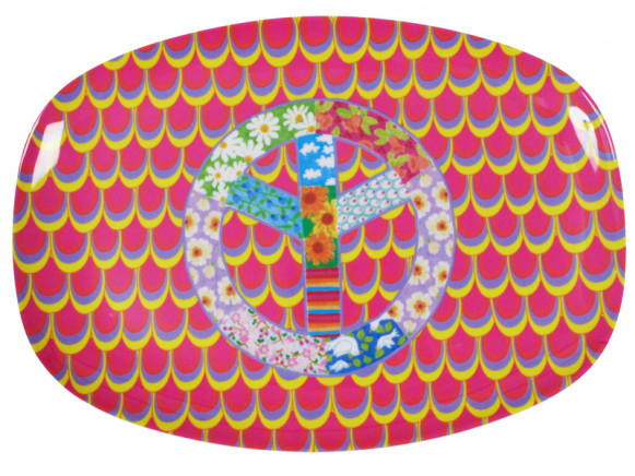 Melamine plate with peace symbol by RICE Denmark