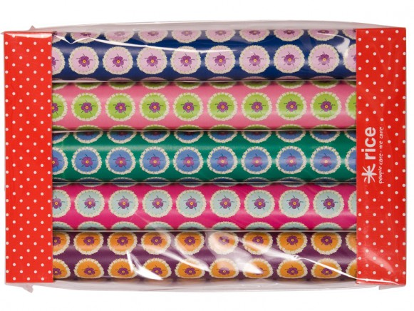 Flower circle printed wrapping paper by RICE Denmark