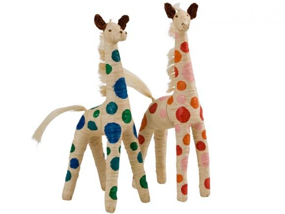 RICE raffia giraffe with dots