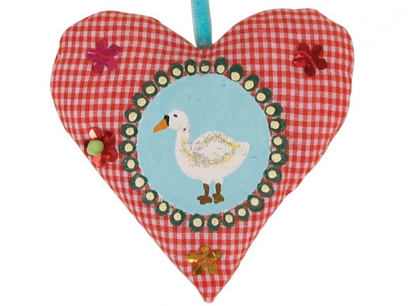 Handpainted fabric heart with goose by RICE