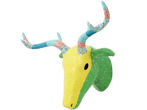 RICE deer head in green