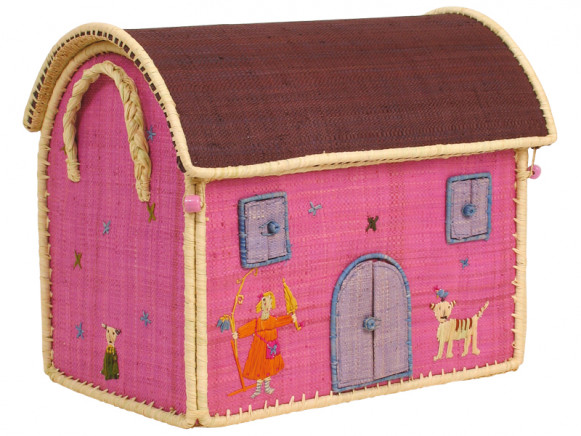 RICE house shaped toy basket with girl and cat embroidery (large)