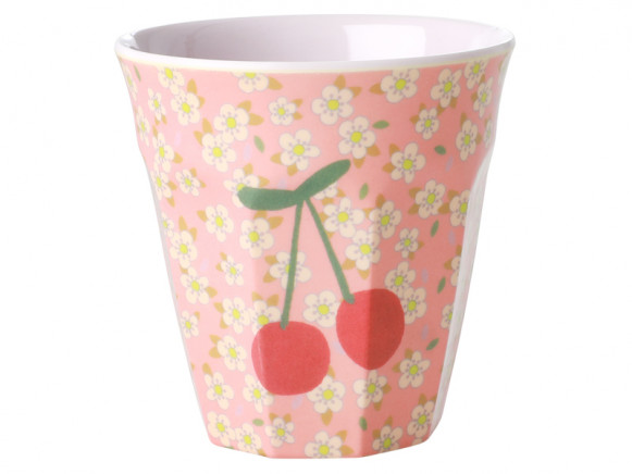RICE Melamine Cup FLOWERS & CHERRIES