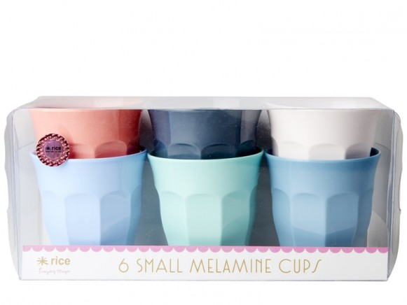 """RICE Small Melamine Cups """"Happy 21st!"""" Colors"""