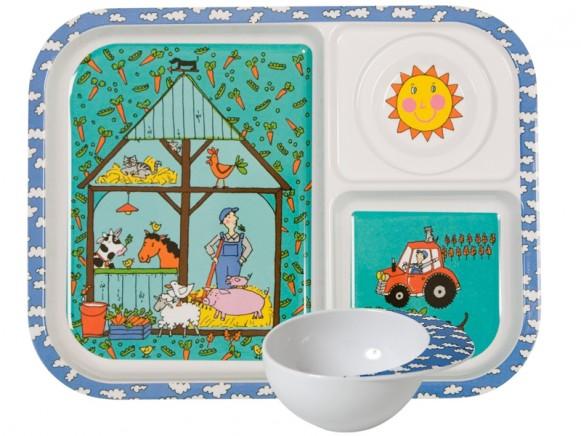 Kids melamine set with farm print by RICE