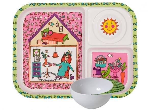 Kids melamine set with garden lady print by RICE