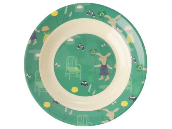 RICE Melamine Kids Bowl BUNNY green