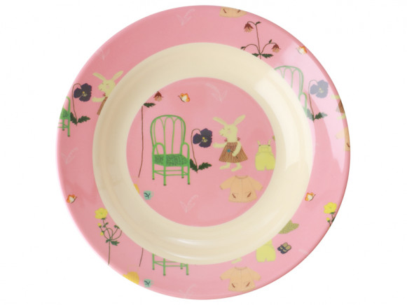 RICE Melamine Kids Bowl BUNNY pink