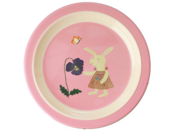 RICE Melamine Kids Plate BUNNY pink