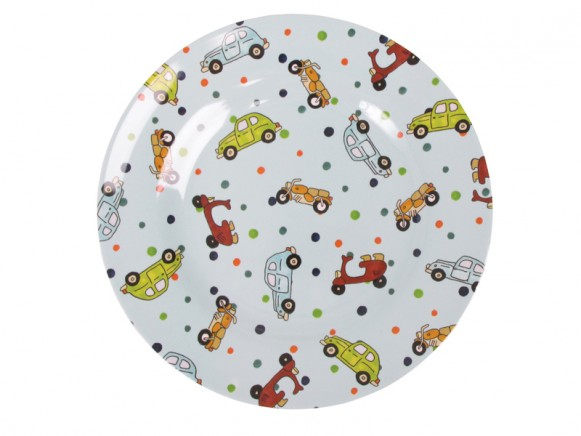 Kids round melamine lunch plate with vehicles by RICE Denmark