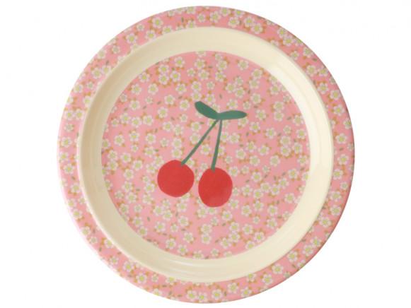 RICE Melamine Kids Plate FLOWERS & CHERRIES