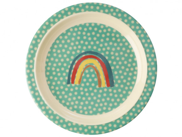 RICE Melamine Kids Plate RAINBOW mint