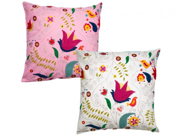 Cushion cover with stitch embroidery by RICE Denmark