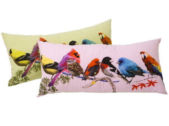 RICE cushion with bird print