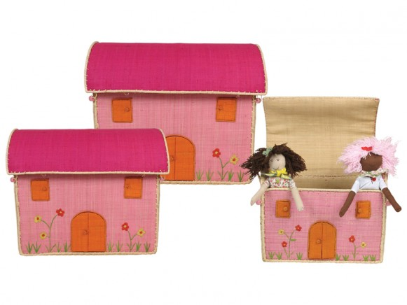 House shaped toy basket in pink with embroidery by RICE