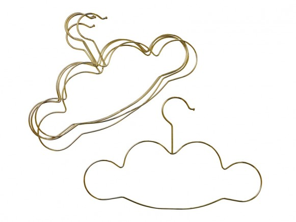 RICE 5 Kids Clothes Hangers Clouds gold