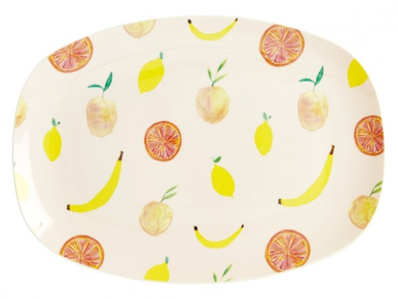 RICE small rectangular plate HAPPY FRUITS