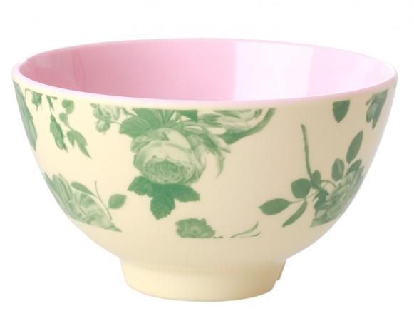 RICE Melamine Bowl GREEN ROSE small