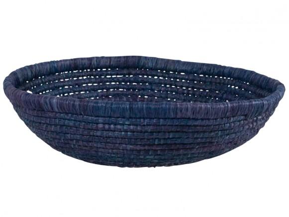 Large wide raffia basket in dark blue by RICE Denmark