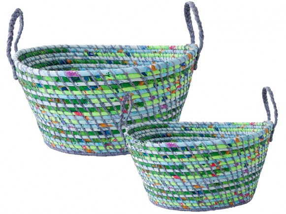 Round storage basket with mint-green-blue fabric by RICE