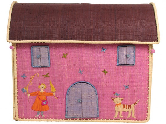 RICE house basket with girl and cat embroidery (medium)