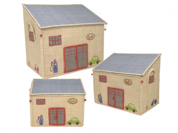 Embroidered raffia garage shaped toy baskets by RICE