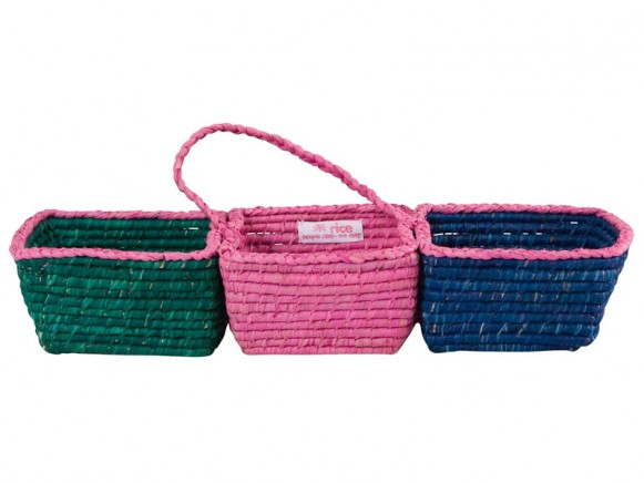 Small basket with 3 compartments in green/pink/blue by RICE Denmark