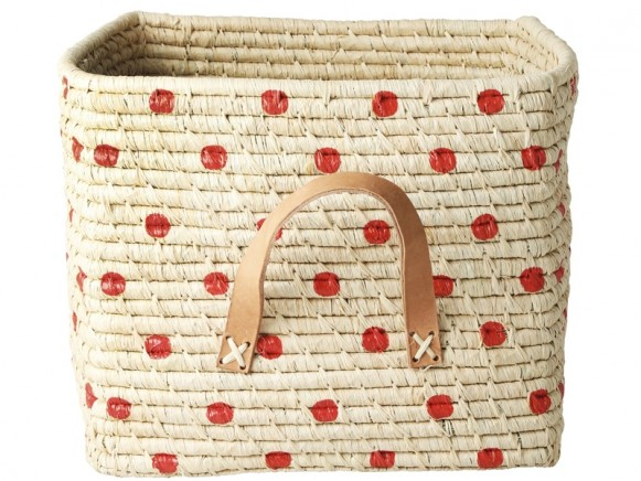 RICE Raffia Basket with RED DOTS